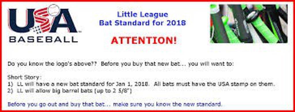 2018 Little League Bat Standards