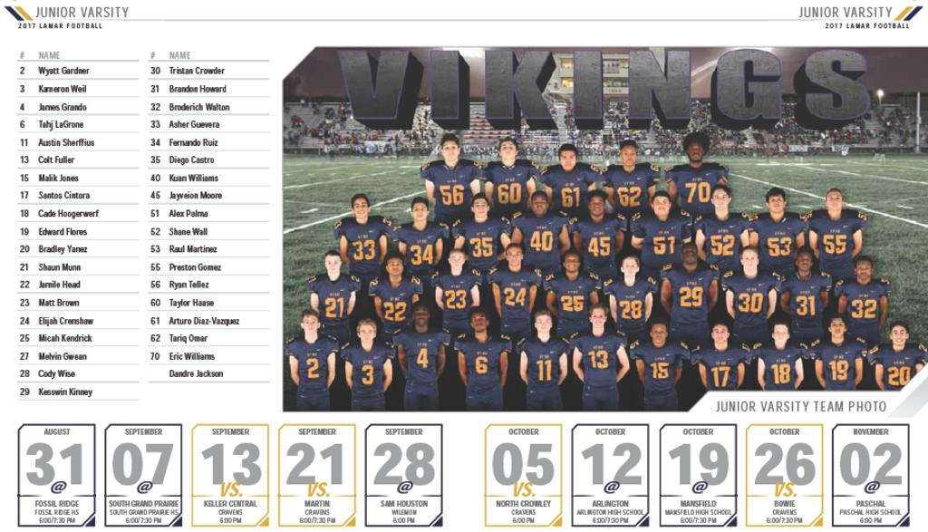 Lamar JV Roster and Schedule