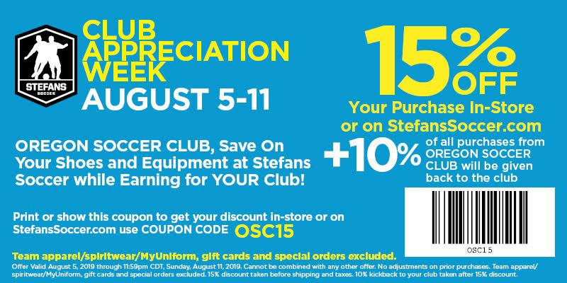 Stefans Soccer Oregon SC coupon for August 5-11, 2019