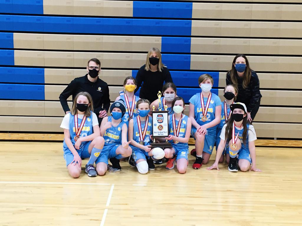 Mpls Lakers Youth Traveling Basketball Program Inc Girls 5th Grade Blue pose with their Trophies after placing 2nd at MYAS Grade State year end tournament!