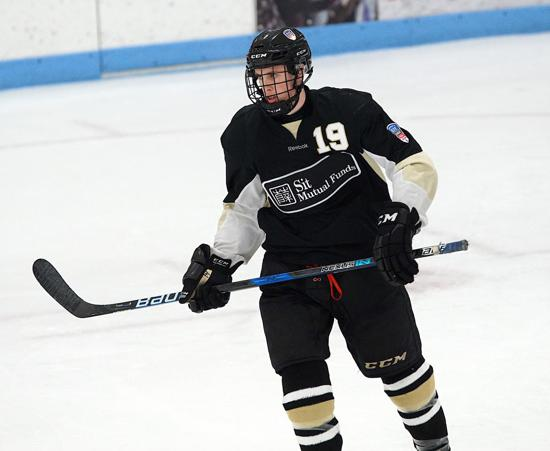 Edina's Sam Walker of Team Southwest is the leading scorer on the league's top team with seven goals and 17 points. Walker is committed to Minnesota. Credit: Peter Odney.