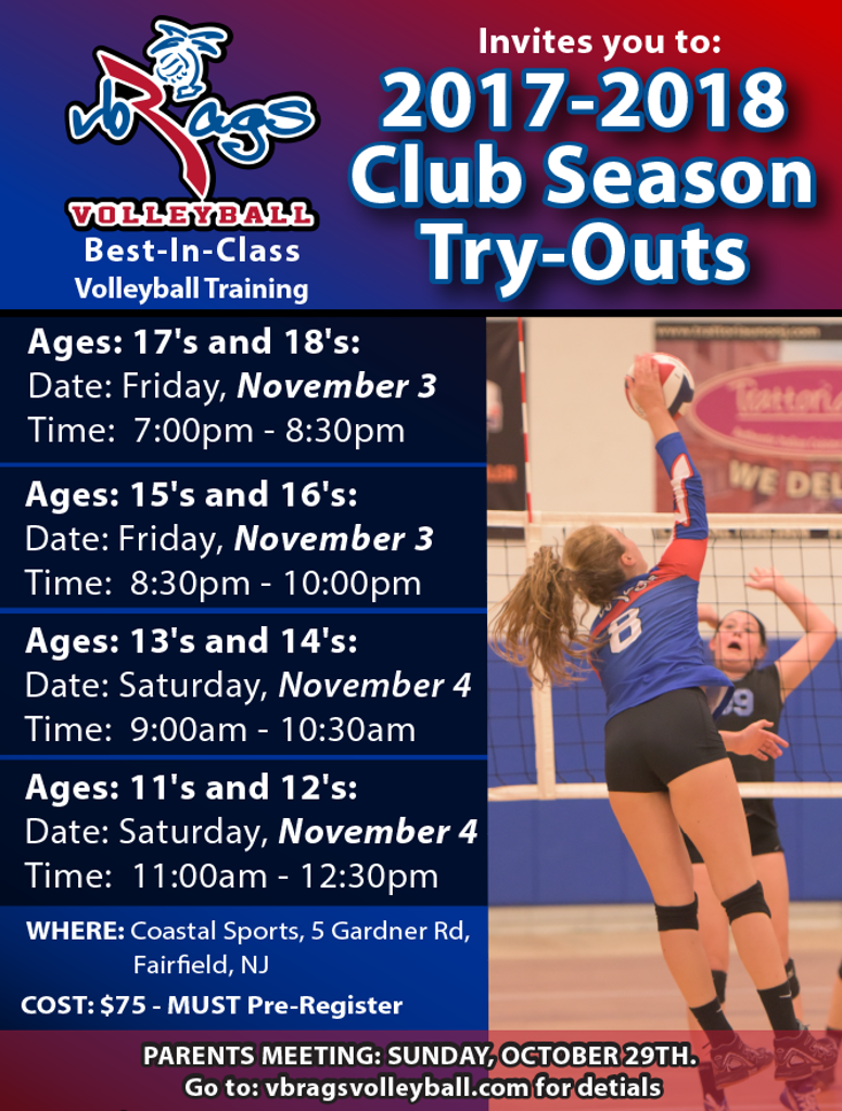 VB RAGS Volleyball Try-outs Evaluations - 2017/2018 Club Season