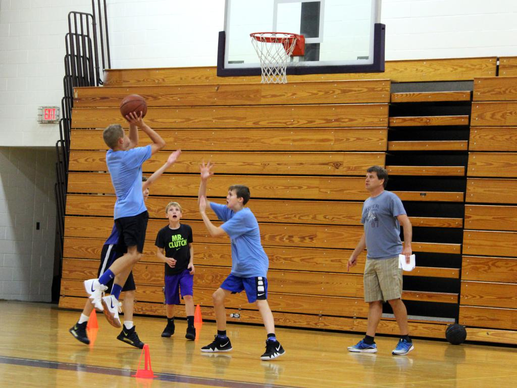 7th grade boys during training session defense focused scrimmage