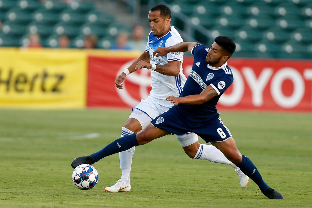 Fresno FC's Rony Argueta battles for possession during the Foxes 1-1 draw against Reno 1868 FC. / Photo by Kiel Maddox, Fresno FC