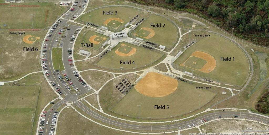 Wesley Chapel Baseball & Softball Park Map