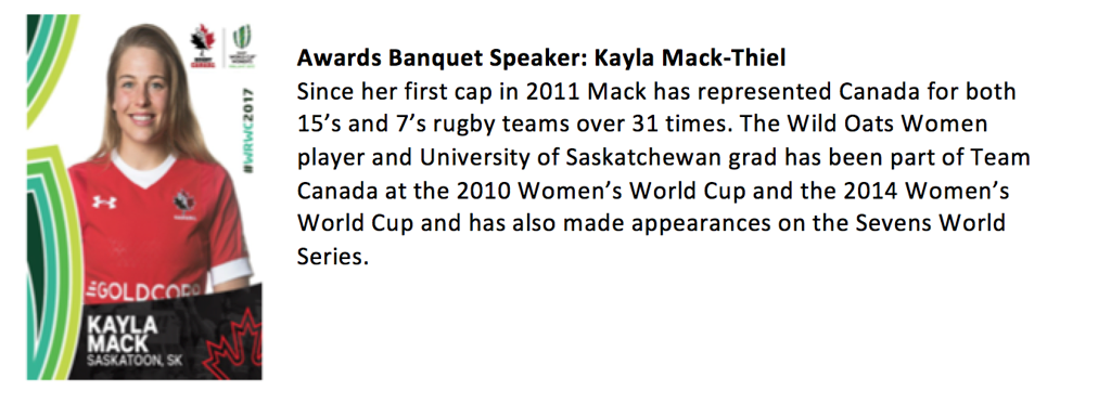 We are a happy to announce our Awards Banquet speaker: Kayla Mack-Thiel
