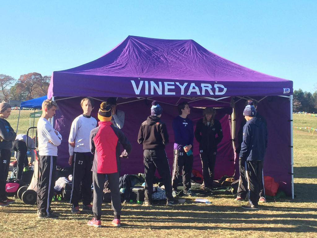 Team gathers at tent. & 2017 Cross Country Team