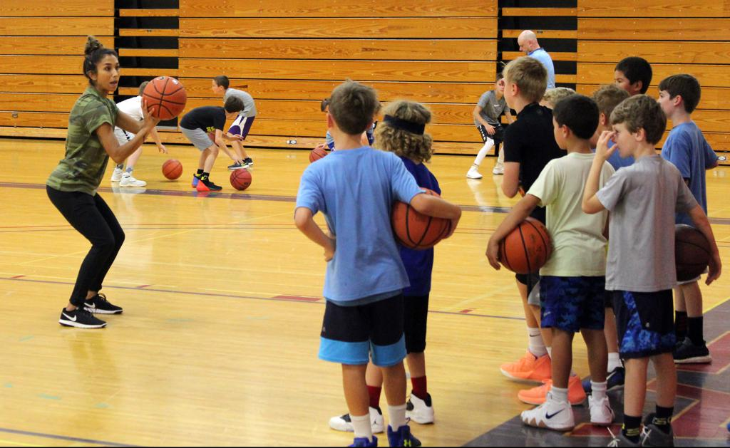 Coach instructing players on shooting technique