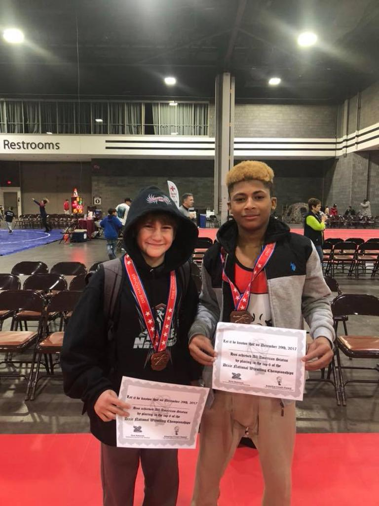 Dominic DiTomasso 14u 85lb 4th place and All American. Darrell Rochester 14u 100lb 5th place and All American.