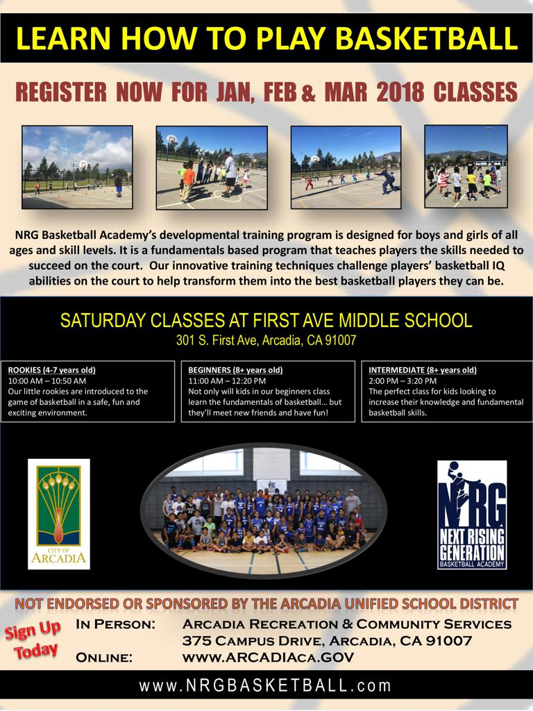Flier for NRG Basketball Classes in Arcadia