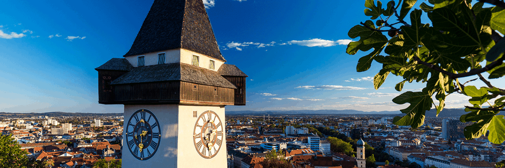 Close-up of Graz Clock Tower at the famous Schlossberg with views of the Old Town