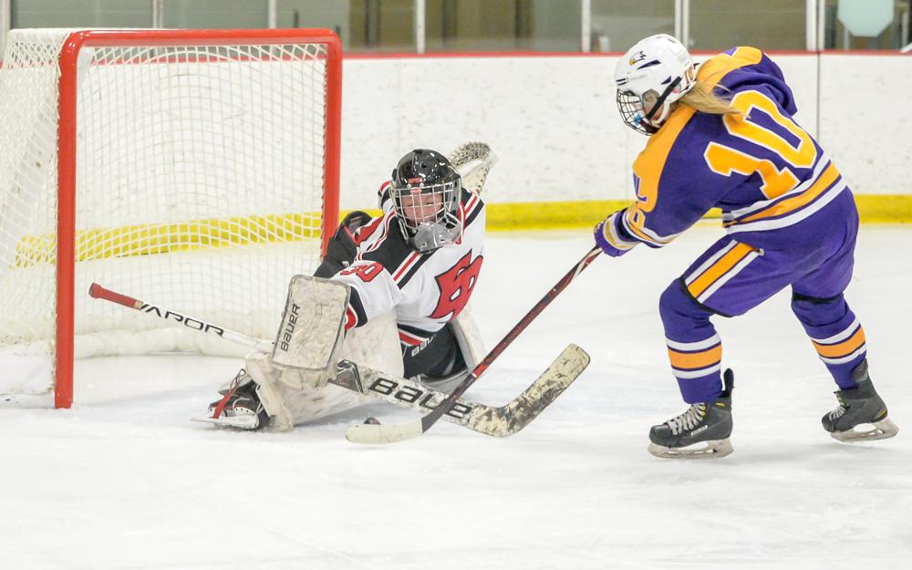 Eden Prairie goaltender Molly Goergen, a sophomore, stops Rochester Lourdes' Sarah Dravis in the third period. Goergen made 20 saves in Eden Prairie's 3-1 victory. Photo by Earl J. Ebensteiner, SportsEngine