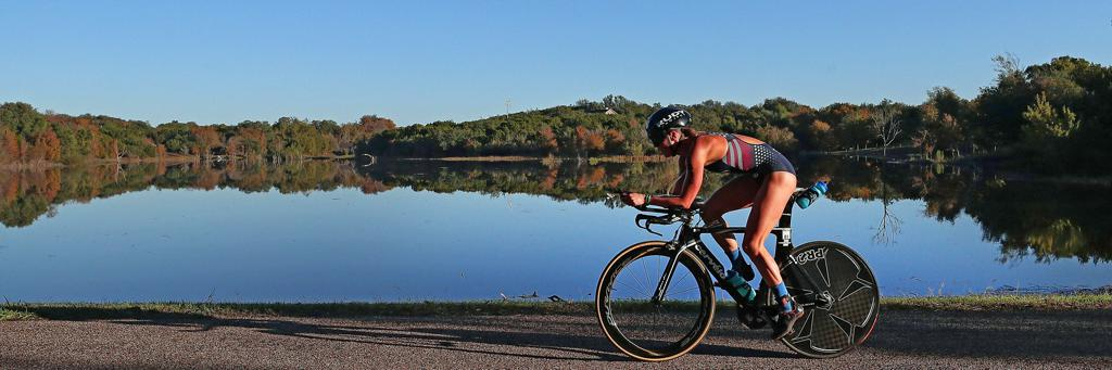 A biker takes in the view at IRONMAN Waco 70.3