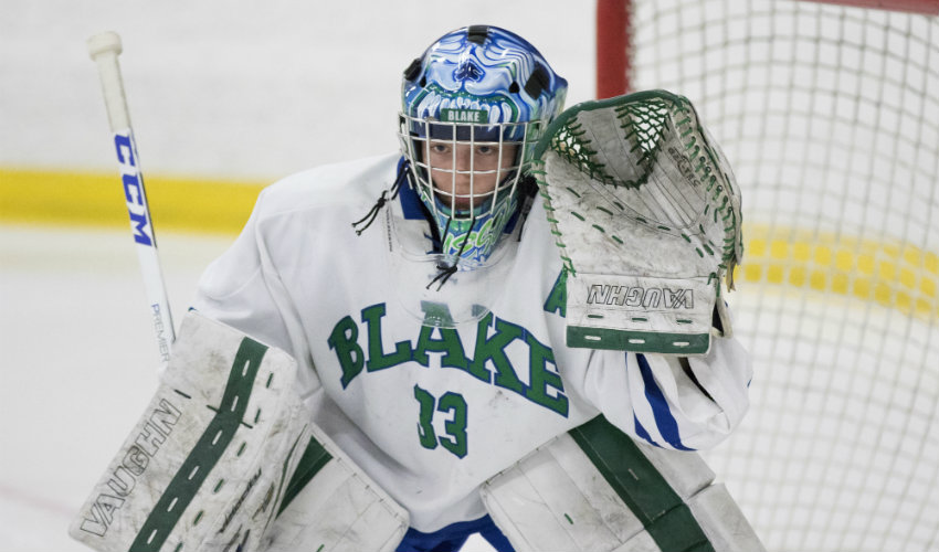 Blake senior goaltender Anna Kruesel was named one of the five finalists for the Senior Goalie of the Year award. The winner of this year's award will be announced at a banquet on Feb. 25. Photo by Jeff Lawler, SportsEngine