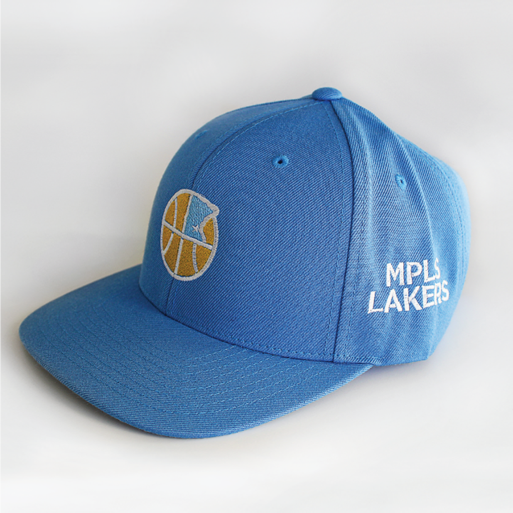 Mpls Lakers Blue Baseball Hat 3/4 View
