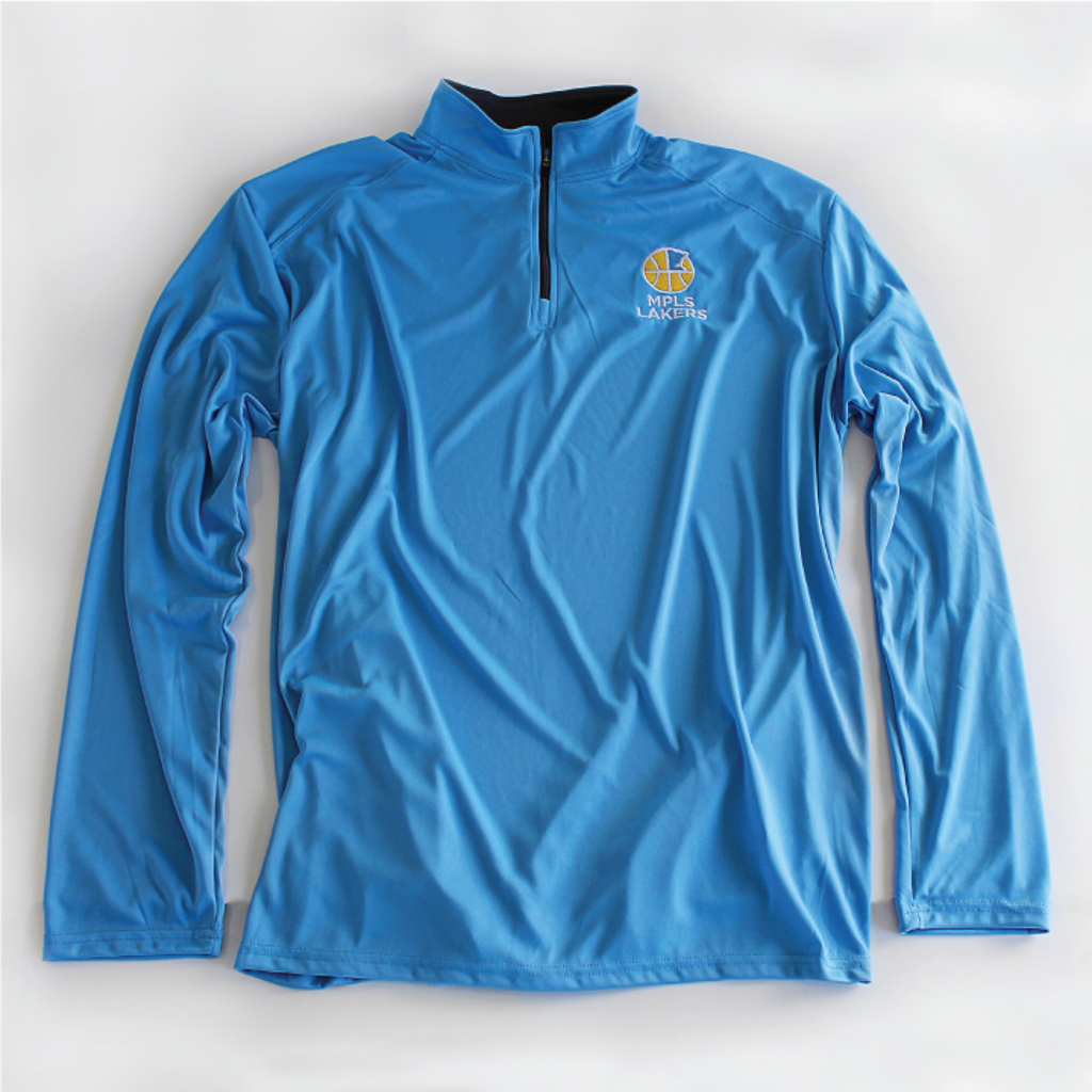 Long-Sleeve Quarter Zip Pullover Shirt with Embroidered Mpls Lakers Logo, Blue Color