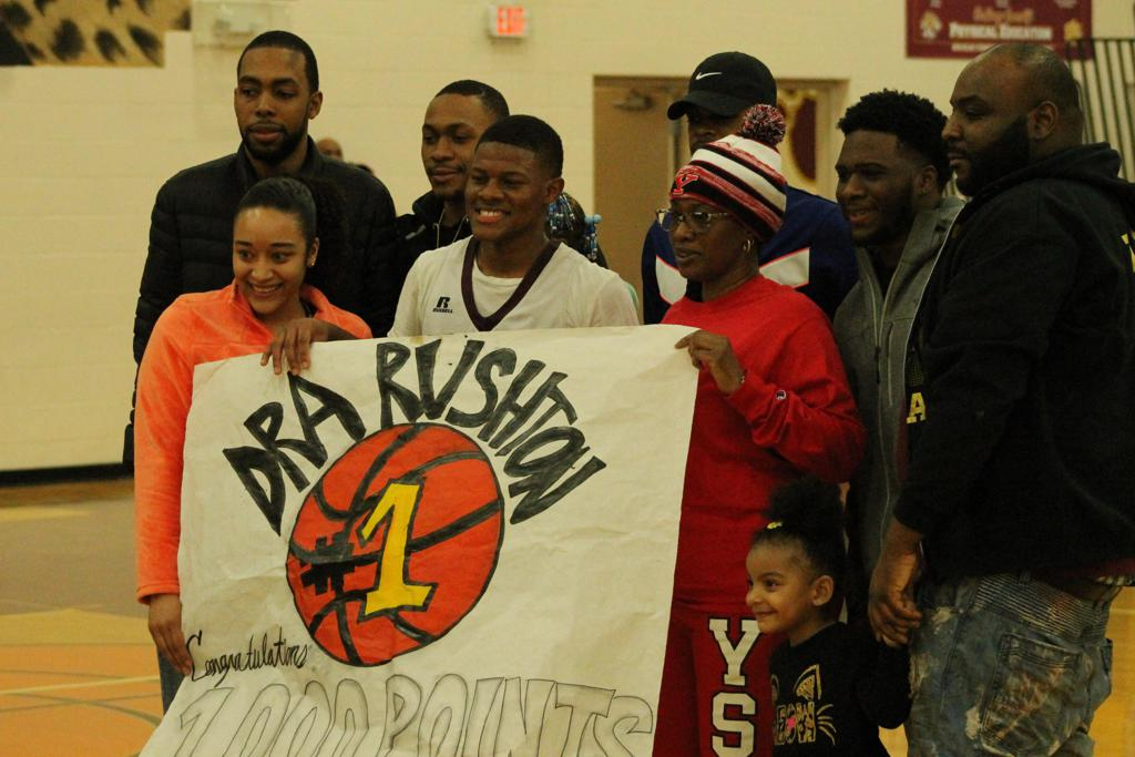 Dra Rushton's Scores his 1000th point as a Liberty Leopard basketball player