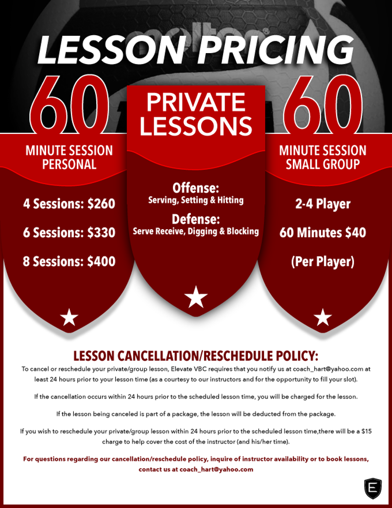 Private or Small Group Training Lessons.