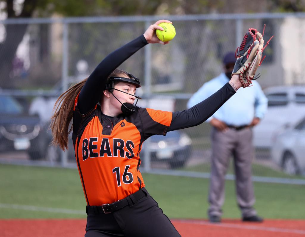 White Bear Lake pitcher Chloe Barber pitched a complete game allowing three hits and striking out 13 batters. Barbers' home run in the sixth inning helped the Bears to a 5-2 at Cretin-Derham Hall High School. Photo by Cheryl A. Myers, SportsEngine