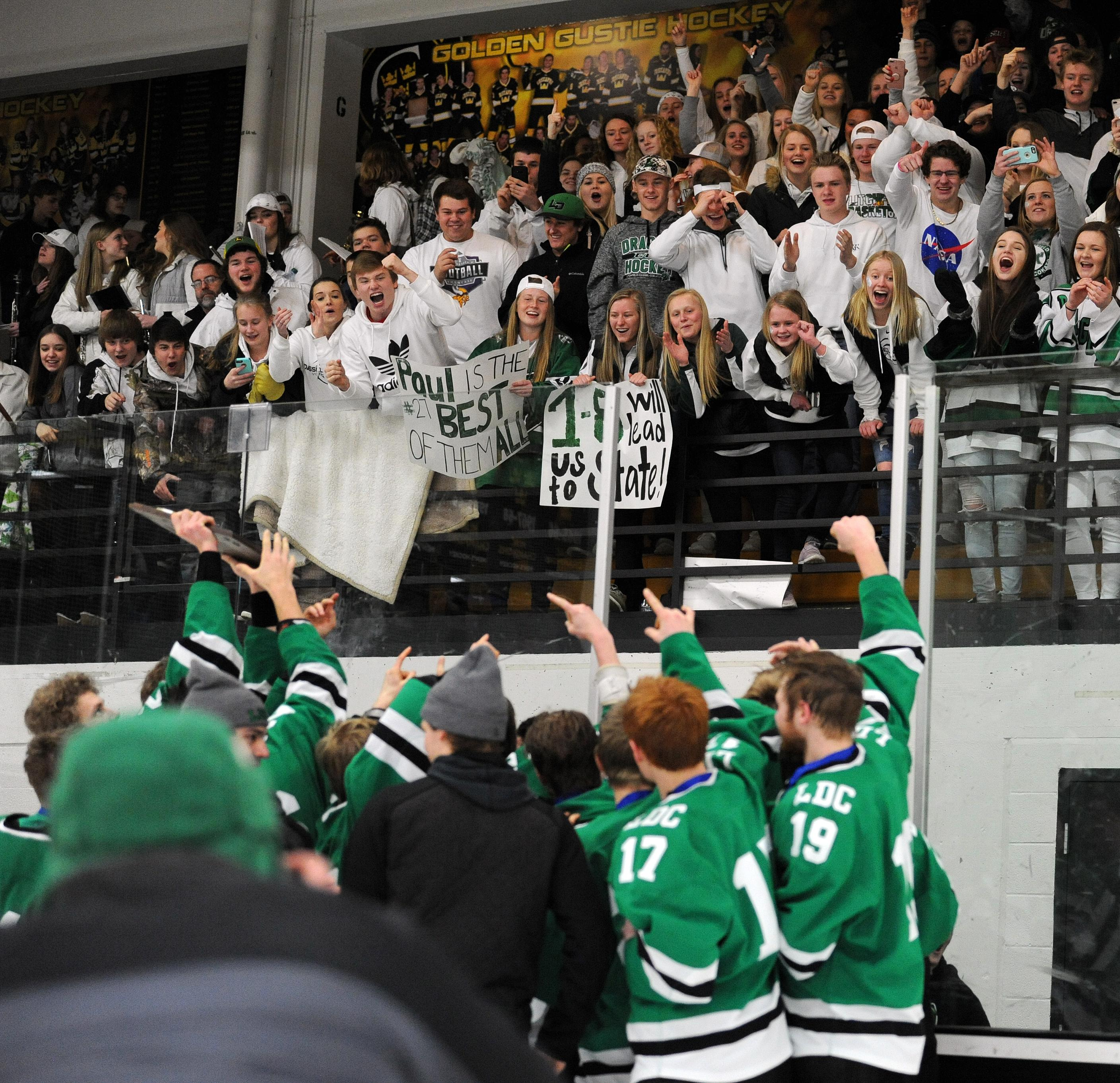 Litchfield/Dassel-Cokato players celebrate their Class 1A, Section 4 championship in front of their cheering section on Wednesday after a 4-1 victory over Luverne. Photo by Loren Nelson, legacyhockeyphotography.net