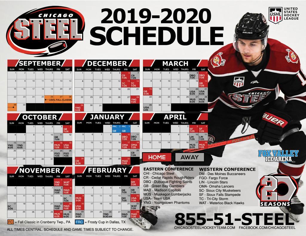 Open February 2020 Calendar Green Heading CHICAGO STEEL 2019 2020 SCHEDULE ANNOUNCED