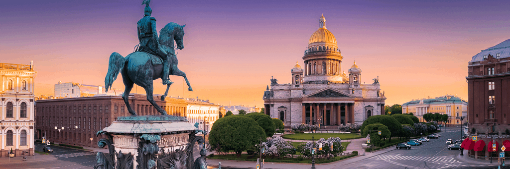 Monument to St. Nicholas I and St. Isaac's square and St. Isaac's Cathedral at sunset in St. Petersburg Russia