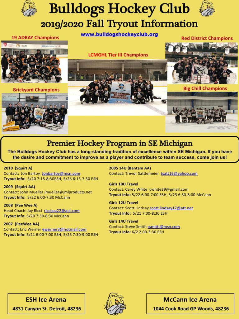 Fall 2019-2020 Try Out Schedule