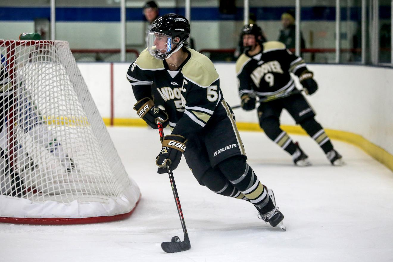 Chicago selected Andover defenseman Wyatt Kaiser in the third round of the 2020 NHL Entry Draft. Photo by Mark Hvidsten, SportsEngine