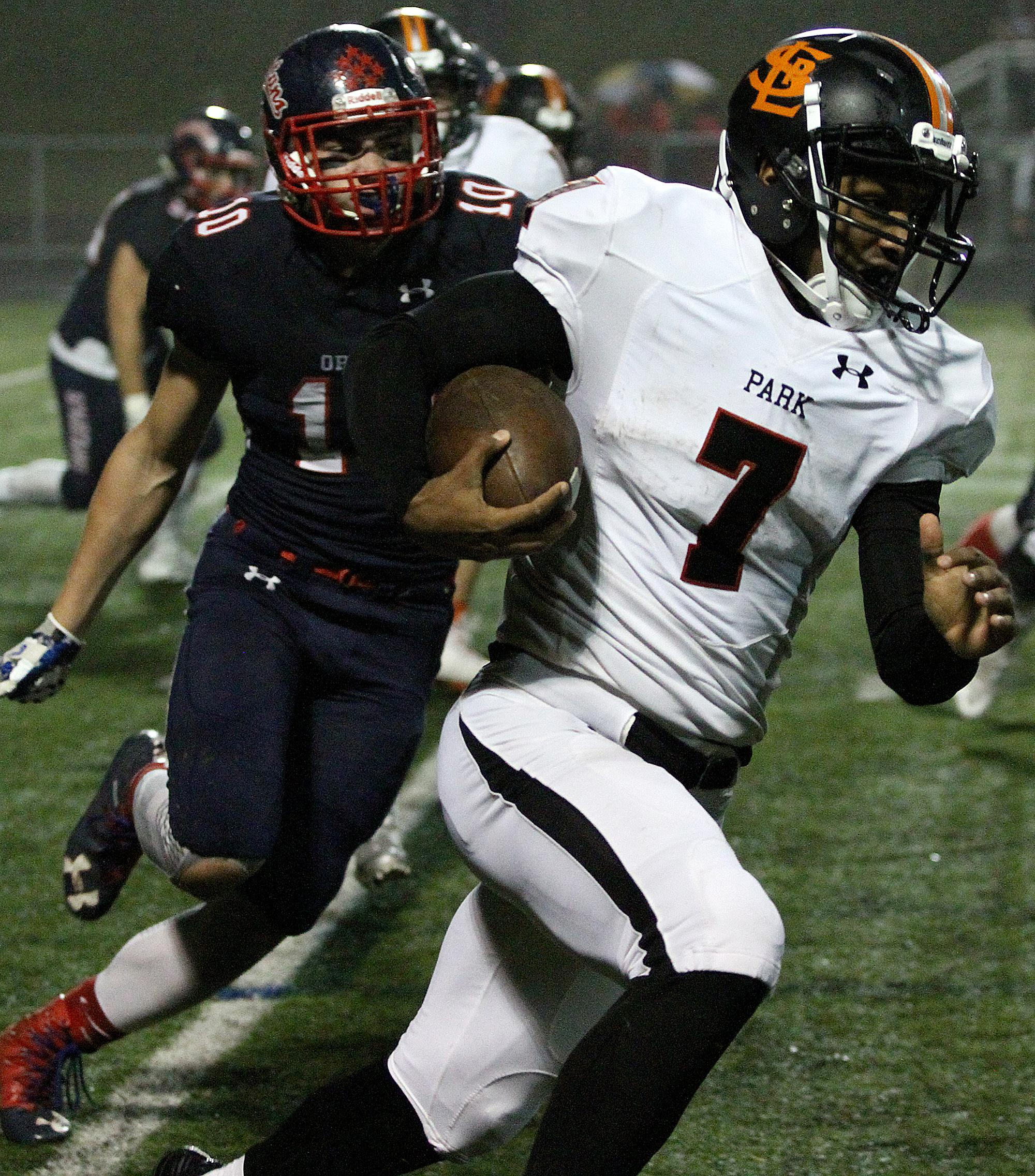 St. Louis Park senior Sajid Nathim helped drive the Orioles' ground attack with 28 carries for 151 yards Friday night at Orono. Photo by Drew Herron, SportsEngine