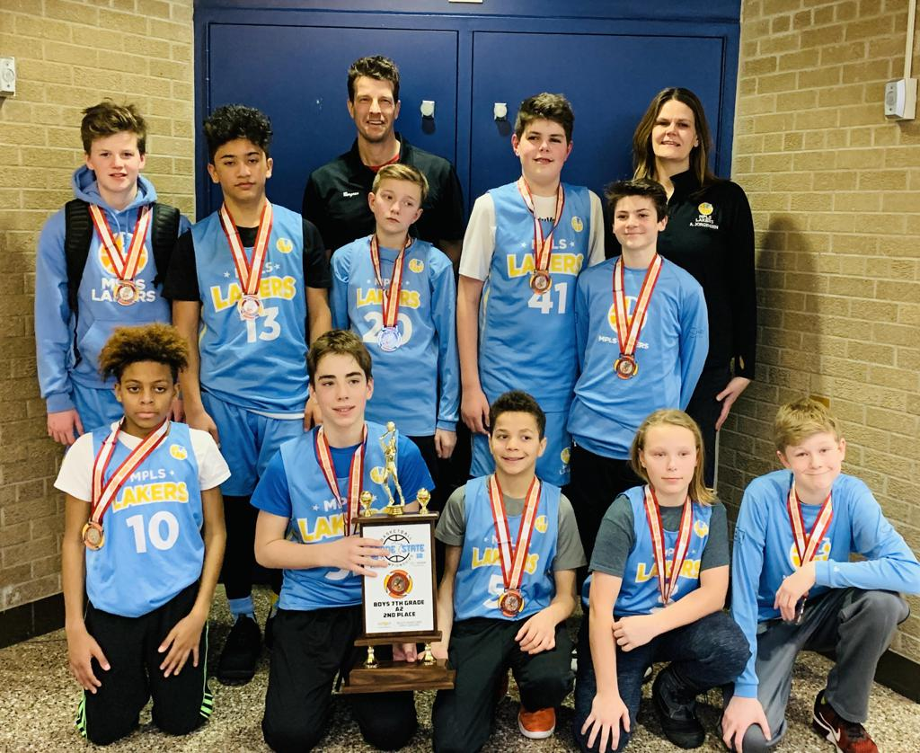 Minneapolis Lakers Boys 7th Grade Gold pose with their Medals & team trophy after taking 2nd place at the MYAS Grade State year end tournament