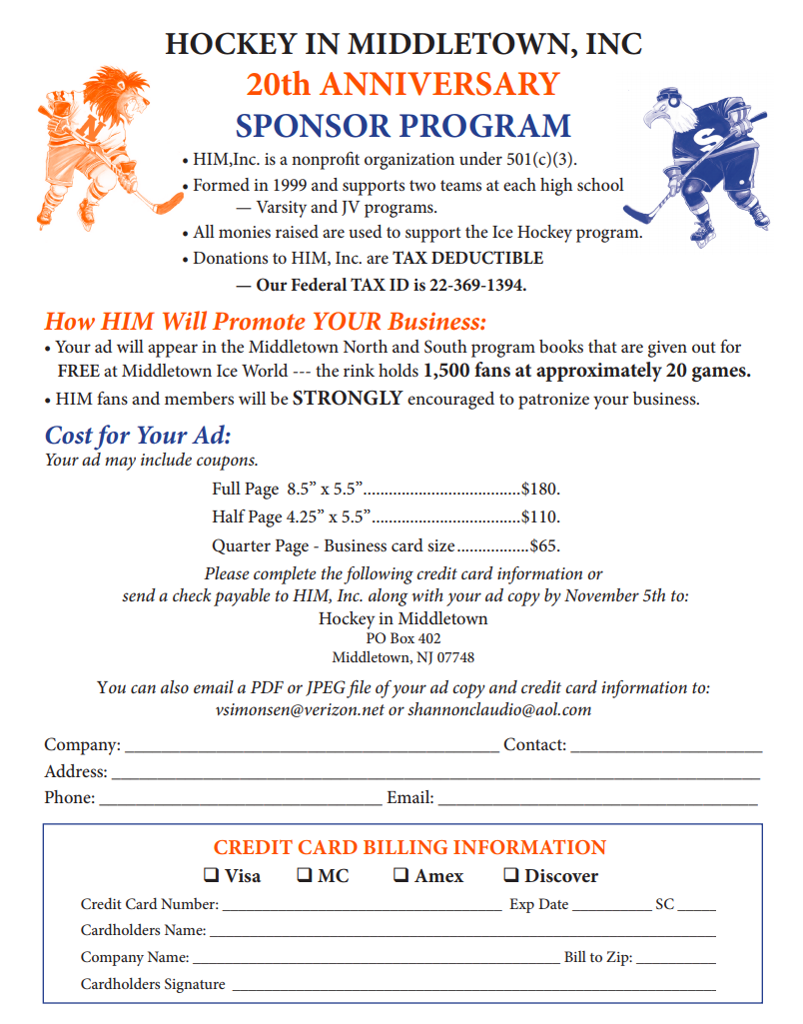 Hockey In Middletown, Inc 20th Anniversary Sponsor Program