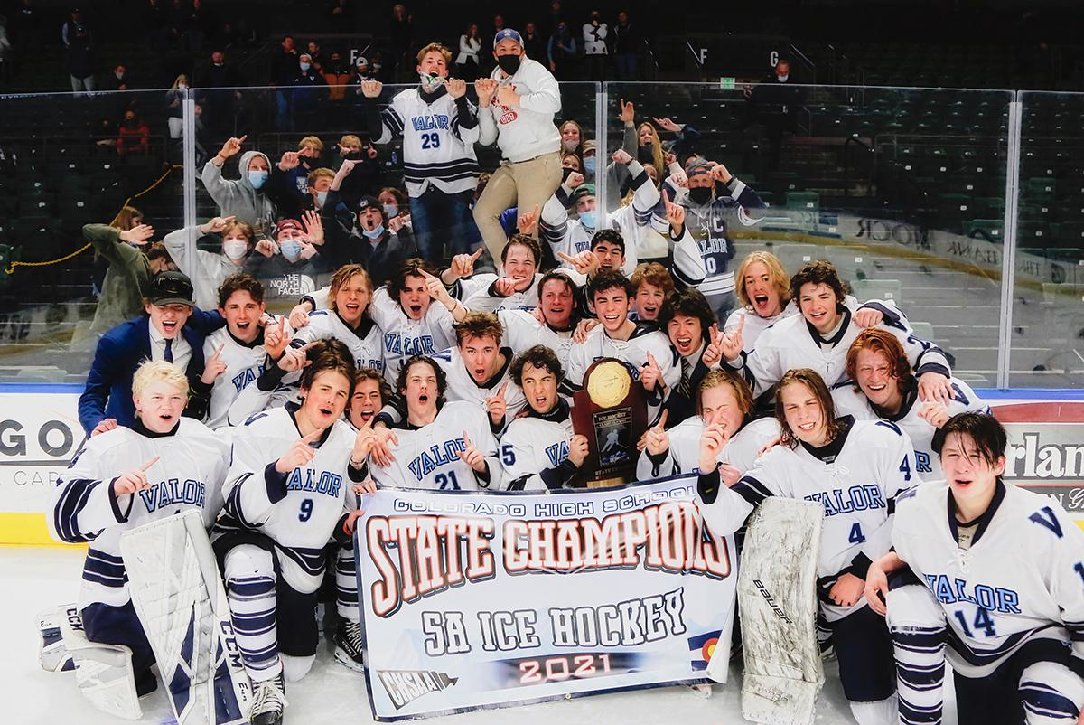 Valor Christian celebrates its second consecutive state championship after defeating Fort Collins 4-3 to win the first Class 5A state title game at the Budweiser Events Center in Loveland on Thursday. Photo by Steven Robinson, SportsEngine