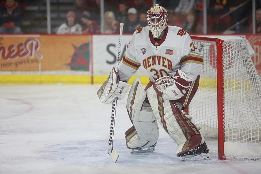 Magnus Chrona (pictured) is likely to get the bulk of minutes in net for the University of Denver in 2020-21. He had a 2.15 goals-against average and a .920 save percentage a year ago.