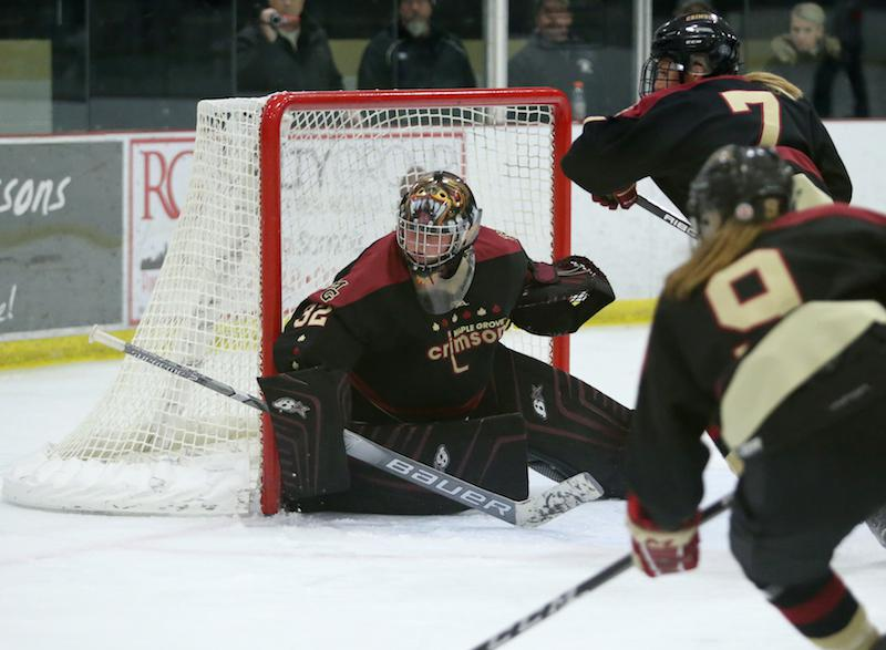 Maple Grove goaltender Lucy Morgan and the Crimson will face off against one of the state's top goal scorers Tuesday. Photo by Cheryl Myers, SportsEngine