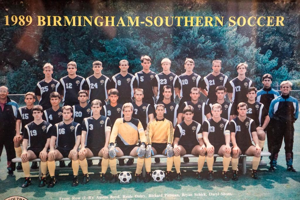 Shore (fourth from left, middle row) said he found stability during his five years at Birmingham-Southern College.