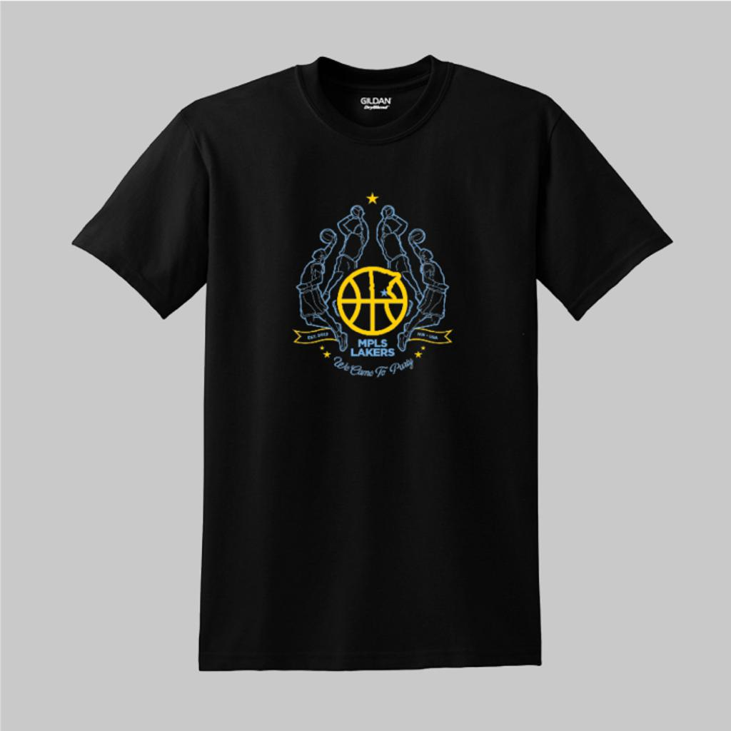 Black T-Shirt with Mpls Lakers Logo and Text: We Came To Party