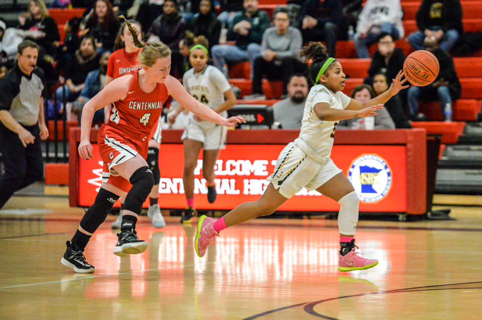 Park Center's Aaliyah Ragulen (right) had a team-high 25 points Tuesday night in the Pirates' 73-71 loss to the Cougars. Photo by Earl J. Ebensteiner, SportsEngine