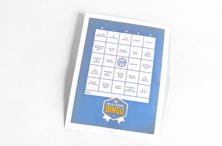 Mpls Lakers Bingo Scoresheet for players