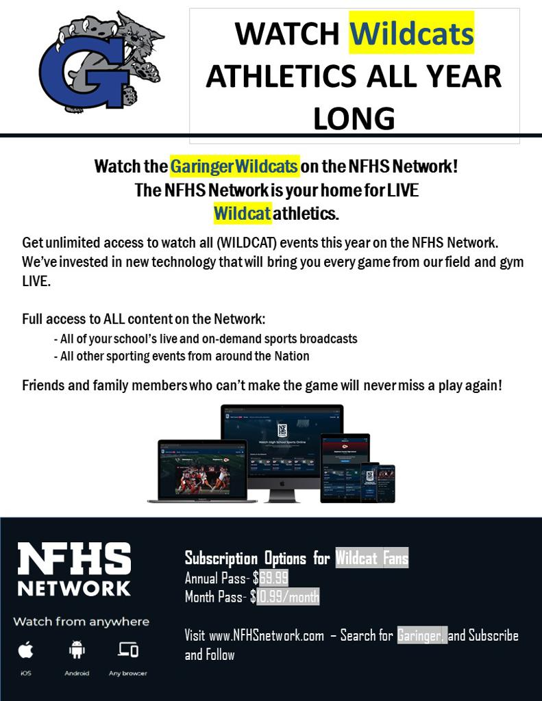Streaming Subscription for Wildcat Athletic Events