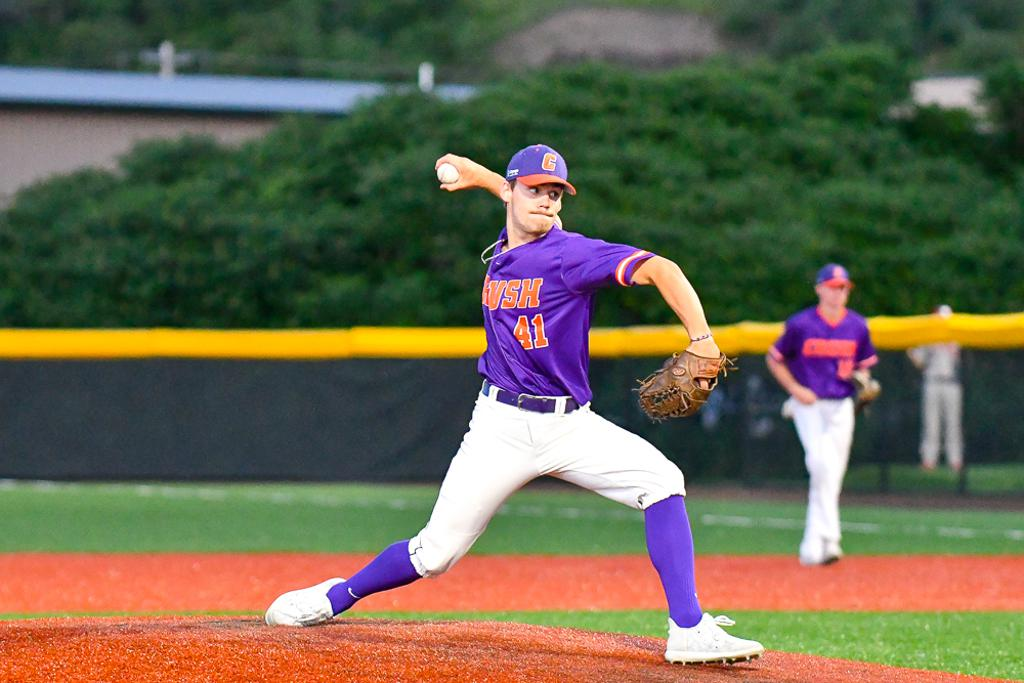 Cortland Crush Garrett Bell (41) pitching against the Syracuse Salt Cats in New York Collegiate Baseball League action at Gutchess Lumber Sports Complex in Cortland, New York on Monday, July 1, 2019. Cortland won 11-4.
