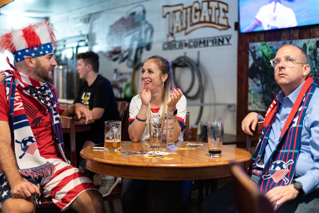 Fans Cheer for USWNT at a Nashville SC Watch Party