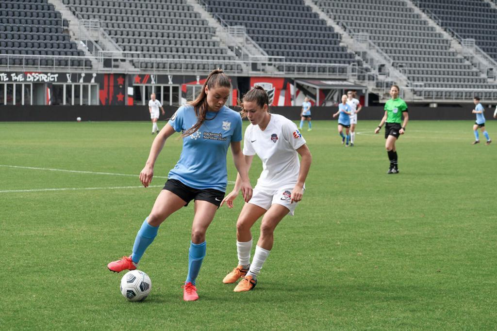 Erica Skroski (Left) and Kelley O'Hara (right) preseason Gotham FC at Washington Sprit at Audi Field