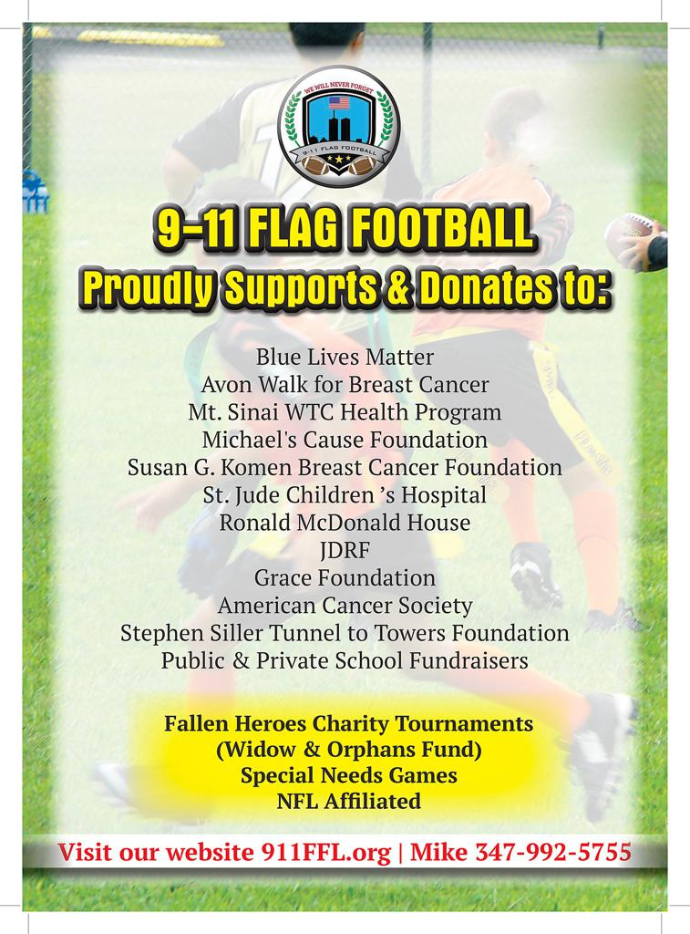 9-11 Flag Football Proudly & ALWAYS Gives Back To Our Community
