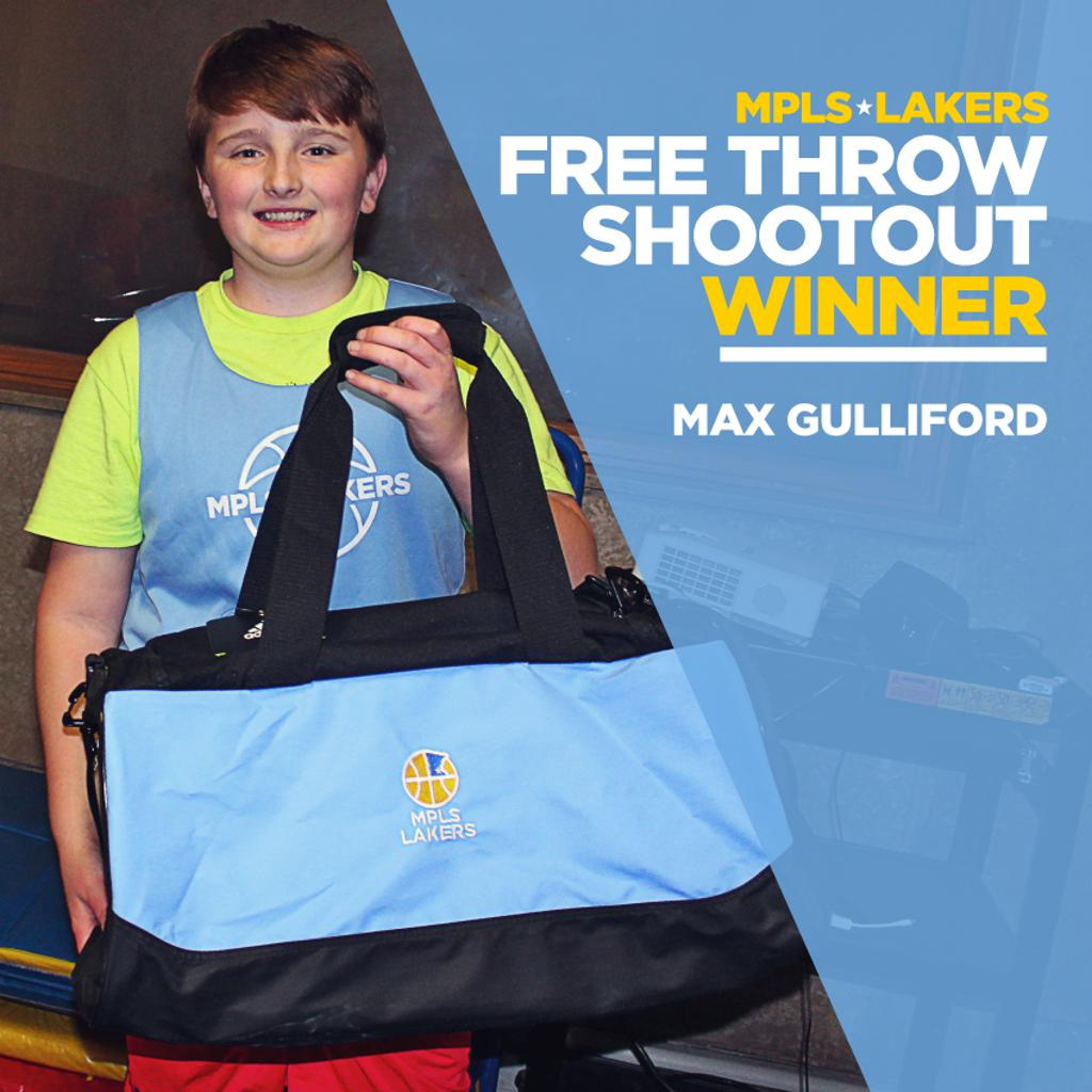 We have a Winner! Max Gulliford from Boys 6th Grade Blue made 14 of 16 free throws at the Cadet Classic last weekend. Way to go & congrats Max!  #MplsLakers #FreeThrowContest #Shooters #FTShootOut #MplsLakersBasketball #ShootersTouch