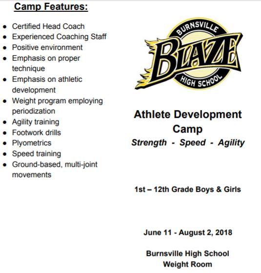 Burnsville Blaze Football Summer Information
