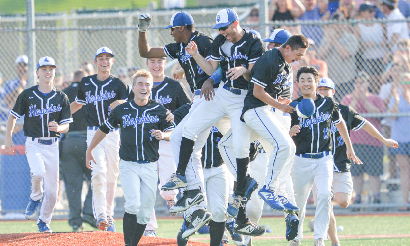 Hopkins baseball celebrates winning last year's Class 4A, Section 6 championship game. The victory secured the Royals their first state tourney berth since 2012. Photo by Earl J. Ebensteiner, SportsEngine