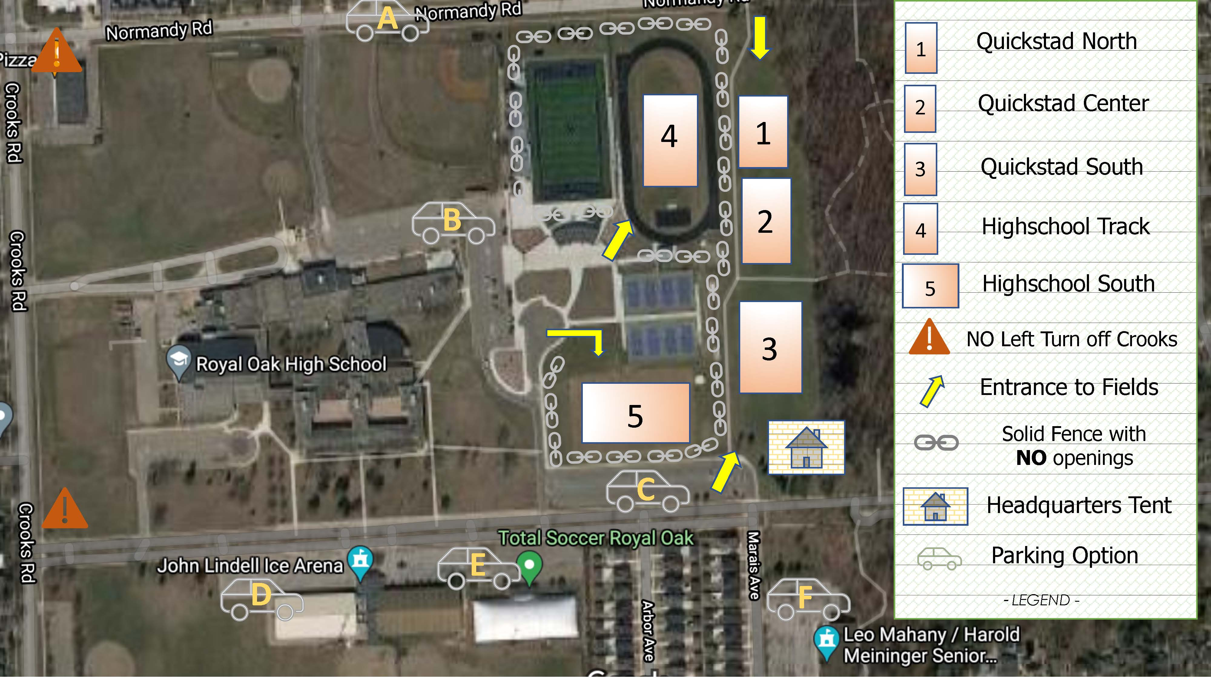 2021 ROFC Premier Tryouts Map