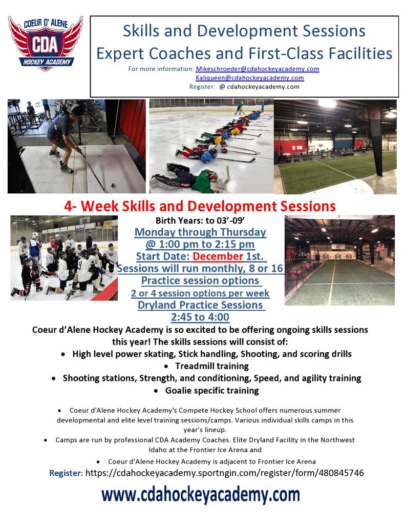 Skills and Development Sessions CDA Hockey Academy December