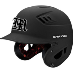 """A reminder that all MAYBA players need their own helmets for the season. We recommend matte black helmets with the """"M"""" as shown. The """"M"""" is available for purchase at Borch's."""