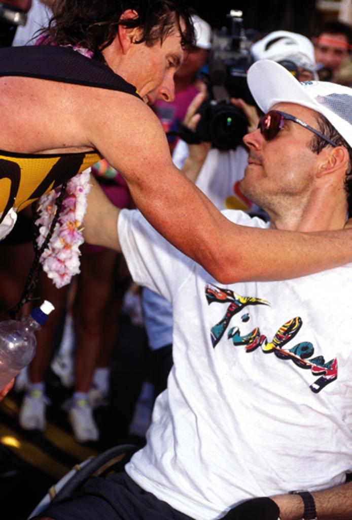 The 1993 IRONMAN World Championship, where Mark Allen stopped to give Jim a hug after Mark's fifth world title